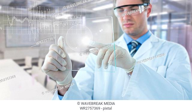 Man in lab coat with glass device and white graph with flare against blurry lab