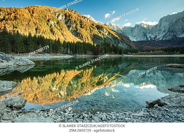 Autumn afternoon at upper Fusine lake, Dolomites, Italy