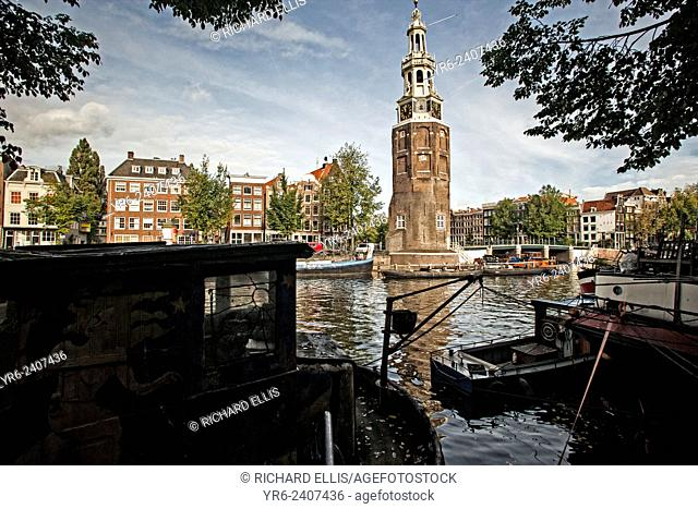 Montelbaanstoren Tower on the Oudeschans canal near Prins-Hedrichkade in Amsterdam