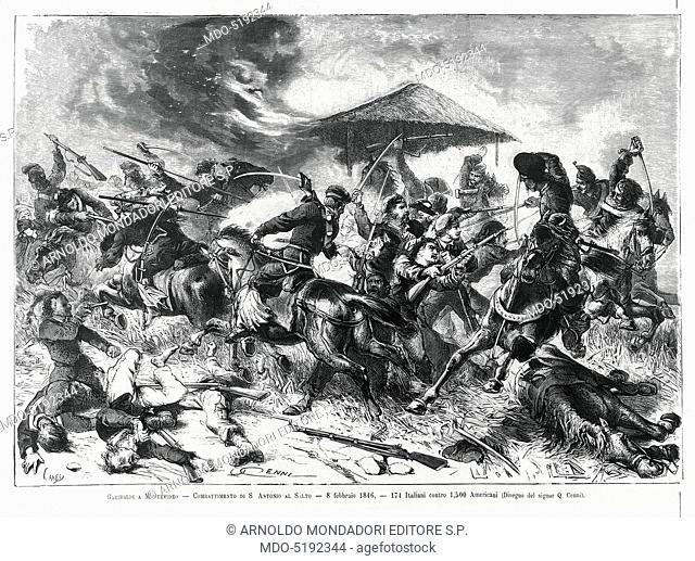 Giuseppe Garibaldi during the Battle of San Antonio (Giuseppe Garibaldi durante la Battaglia di San Antonio), by Quinto Cenni, 19th Century, engraving