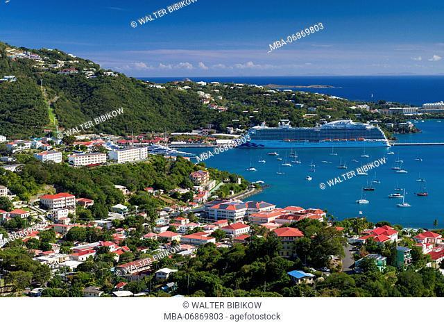 U.S. Virgin Islands, St. Thomas, Charlotte Amalie, elevated view towards Havensight cruise port