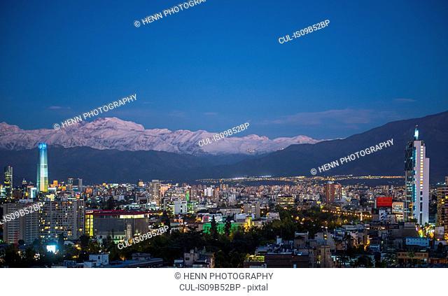 Santiago de Chile in the evening
