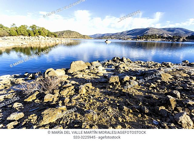 Drought at Burguillo reservoir in Iruelas Valley on a winter morning. Avila. Spain. Europe