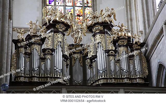 Interior, TILT up, CU. The sculptural decoration of the organ was made by two workshops between 1740 and 1760. It was restored