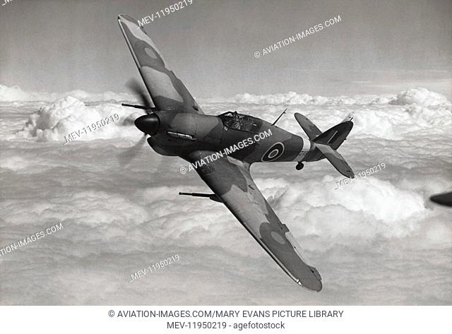 Hawker Hurricane Mk 2D flying above cloud with Anti-Tank Cannon
