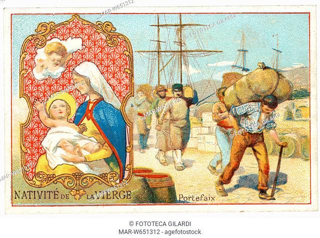NATIVITÀ DELLA VERGINE - invocata a protezione dei facchini. Figurina serie -Chicorée Lestarquit- cromolitografia, Francia XIX secolo