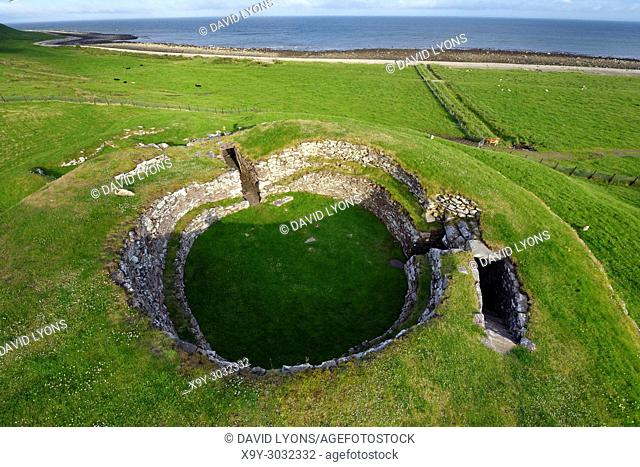 Carn Liath broch 2000 years fortified homestead on North Sea coast near Golspie, Sutherland, Scotland. Looking south east