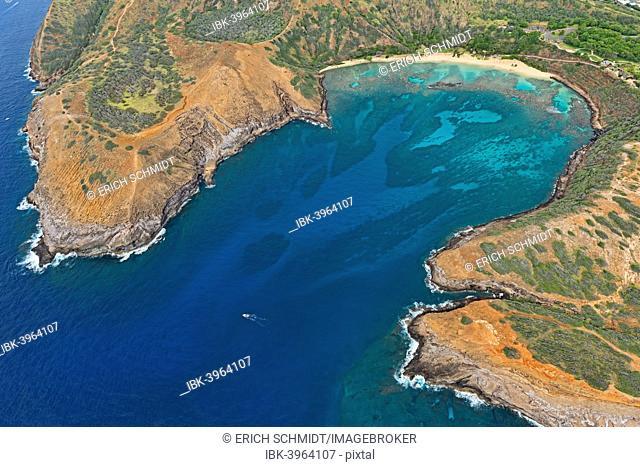 Overview of the empty Hanauma Bay, Oahu, Hawaii, United States
