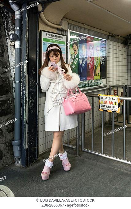 Urban tribes in The Harajuku district. Many of them wearing all kind of fashion styles from Gothic Lolitas to Decora or Cosplay