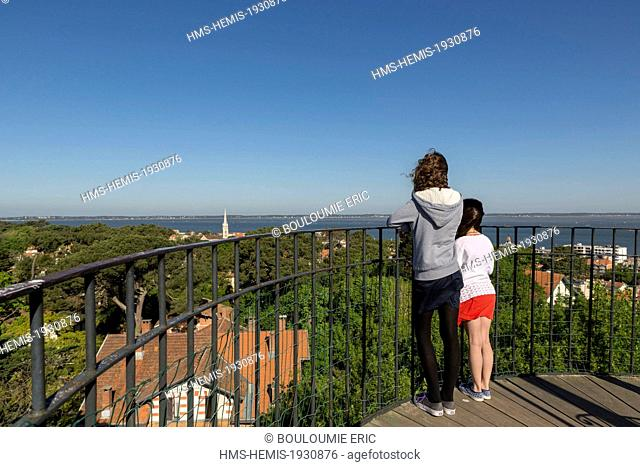 France, Gironde, Arcachon, view of the city and the Bassin d'Arcachon from the observatory Sainte Cecile