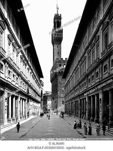 Florence, Arcade of the Uffizi Gallery (1560 -1580 ca.), shot 1890 ca. by Brogi