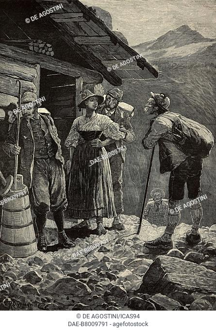 Mountain excursion, tourists in Switzerland, engraving from The Illustrated London News, No 2208, September 10, 1881