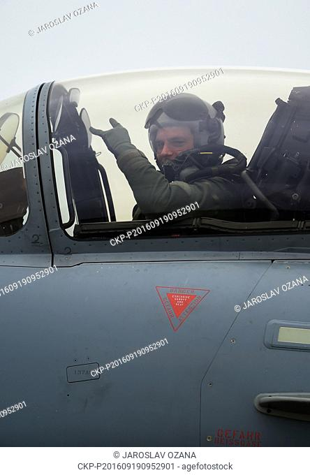 German pilot of Eurofighter Typhoon pictured during the NATO Days and Czech Air Force Days at Mosnov airport, Ostrava, Czech Republic, September 19, 2016