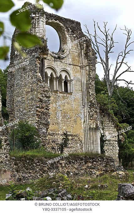 Abbey of Mortemer. Monks Museum and White Lady. Lisors. Eure, Normandy, France. Notre-Dame de Mortemer abbey is an old Cistercian abbey founded in 1134 by King...