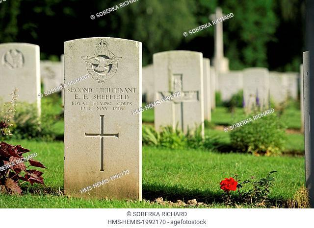 France, Pas de Calais, Mont Saint Eloi, hamlet of Ecoivres, military cemetery, tombstone of a soldier