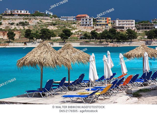 Albania, Albanian Riviera, Ksamil, town beachfront