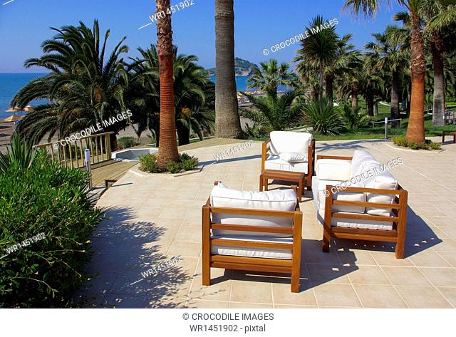 Sitting area of a hotel with view to beach, Mediterranean Sea, Southwestern Turkey
