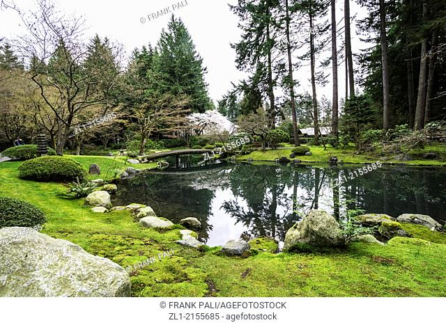 Nitobe Memorial Garden, a traditional Japanese garden, University of British Columbia, Vancouver, British Columbia, Canada