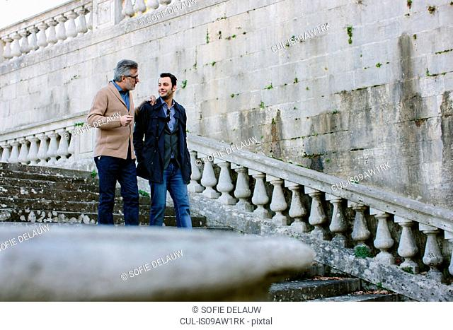 Young man and father chatting whilst moving down traditional stairway, Florence, Italy