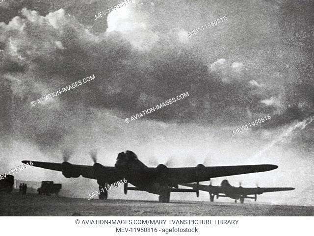 Dam-Busters 617 Squadron Royal Air Force RAF Avro 683 Lancasters Taxiing with Dark Dramatic Cloud