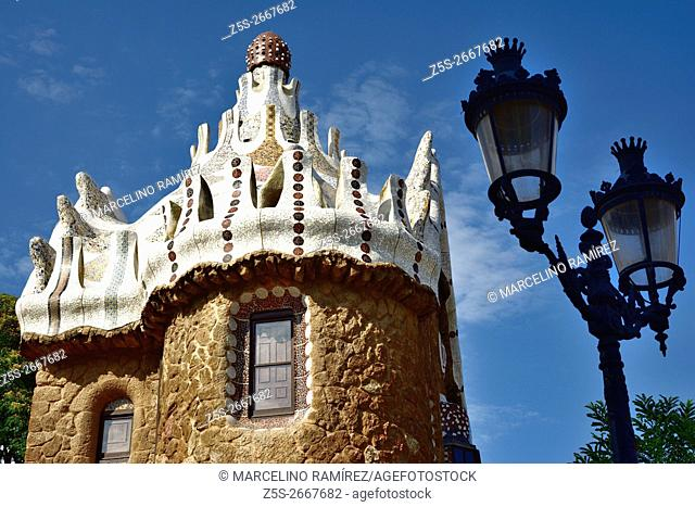 The Park Güell is a public park system composed of gardens and architectonic elements located on Carmel Hill, in Barcelona, Catalonia, Spain, Europe