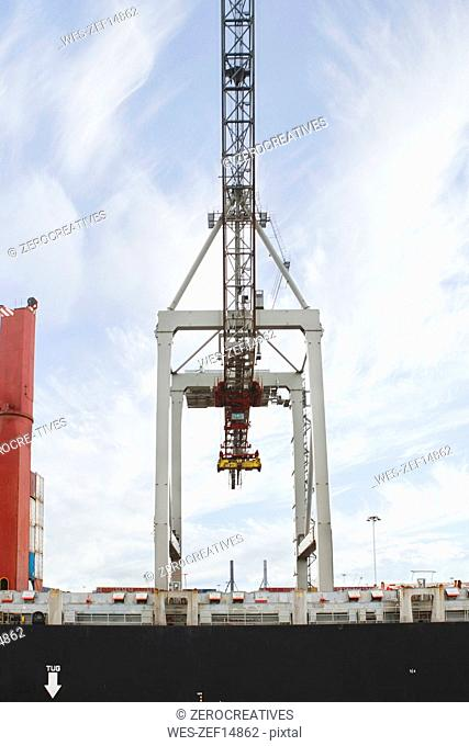 South Africa, Cape Town, crane on cargo ship