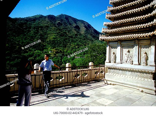 Beijing, China: Fragrant Hills Park, couple on terrace of the Bright Temple Zhao Miao 1780 Tibetan style lamasery