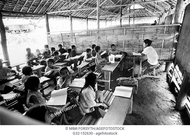Children in classroom at refugee camp from Myanmar on the Thailand-Myanmar border