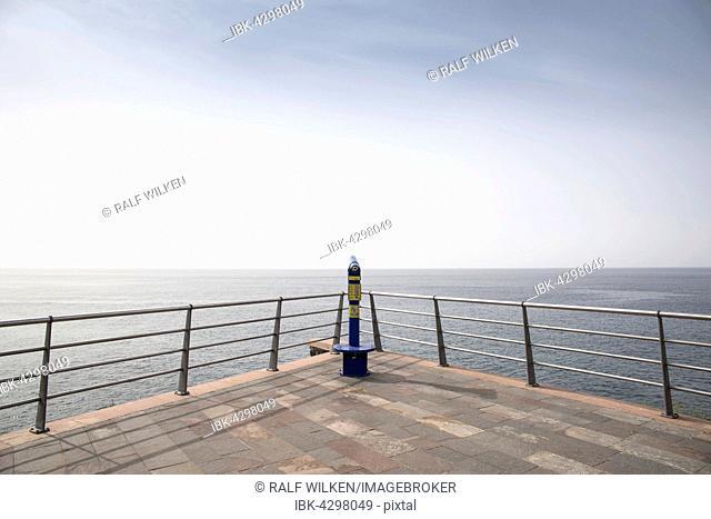 Telescope on panorama terrace overlooking the sea, Tenerife Spain