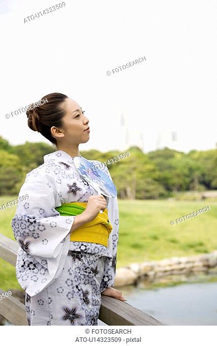 Verdure and yukata woman