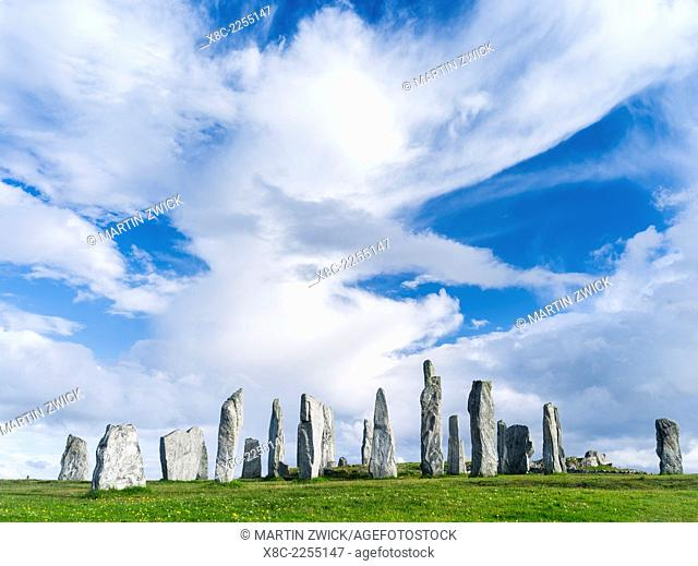 Standing Stones of Callanish (Callanish 1) on the Isle of Lewis in the Outer Hebrides. The megalithic monument is cross shaped with a central ring of stones and...