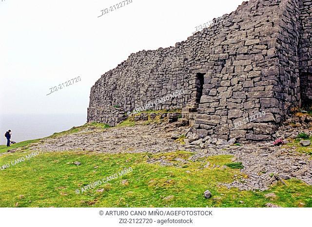 Dun Aengus is a prehistoric fort, 1100-500 BC, Inishmore, Aran Islands, Republic of Ireland