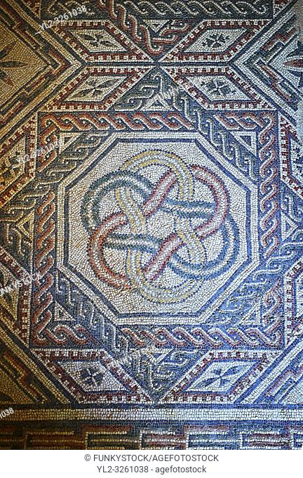 Close up picture of the Roman mosaics of the Room with Star Shaped Decorations depicting a braid geometric mosaic patterns