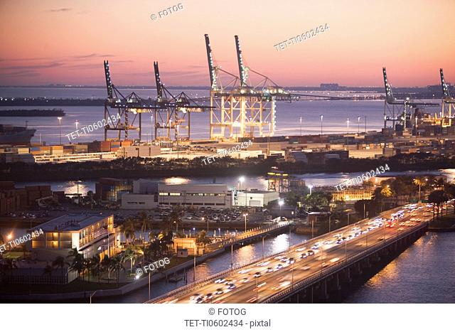 USA, Florida, Miami, Commercial dock at dusk