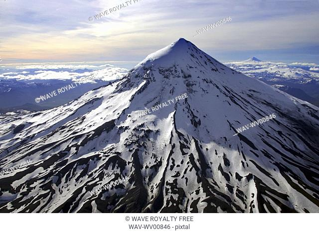 Helicopter view of Lanin Volcano 3747 m, Argentina