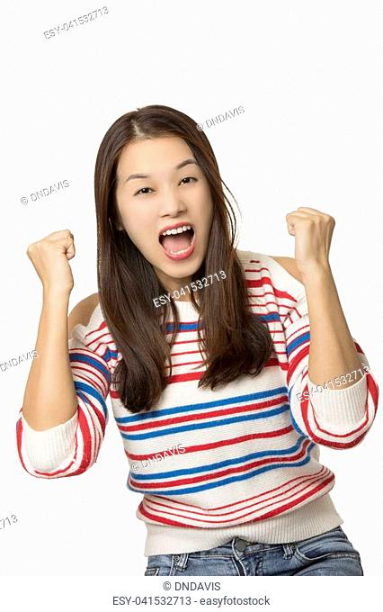 Portrait of a angry Asian American woman displaying a bit of attitude isolated on a white background