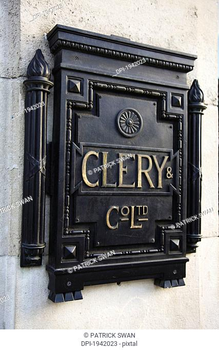 close-up of clery's department store plaque, dublin county dublin ireland