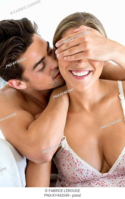 Romantic couple on the bed