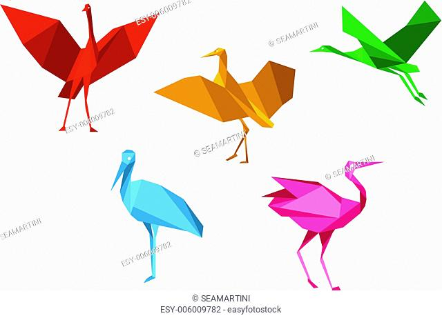 Cranes, storks and herons birds in origami style isolated on white background