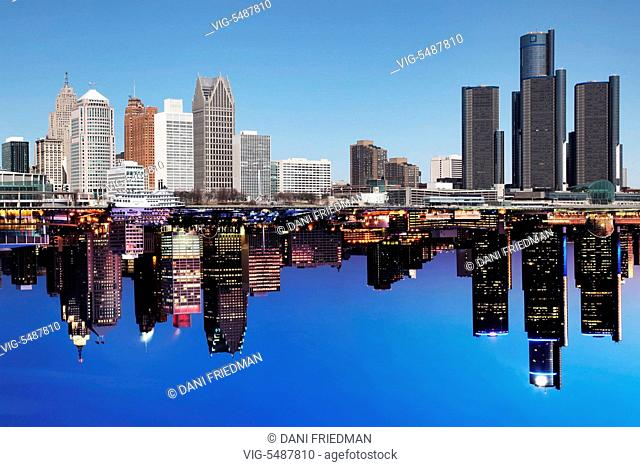 Composite photo of the skyline of downtown Detroit, Michigan, USA during the daytime and at night. - DETROIT, MICHIGAN, USA, 18/03/2015