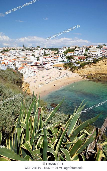 Portugal, Algarve, Carvoeiro, View of Town & Beach