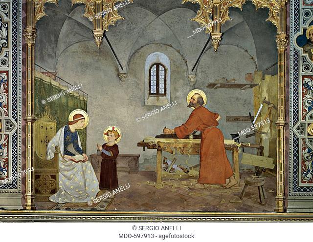 St Joseph at Work, by Faustini Modesto, 1887 - 1890, 19th Century, canvas. Italy, Marche, Loreto, Ancona, Spagnola Chapel. All
