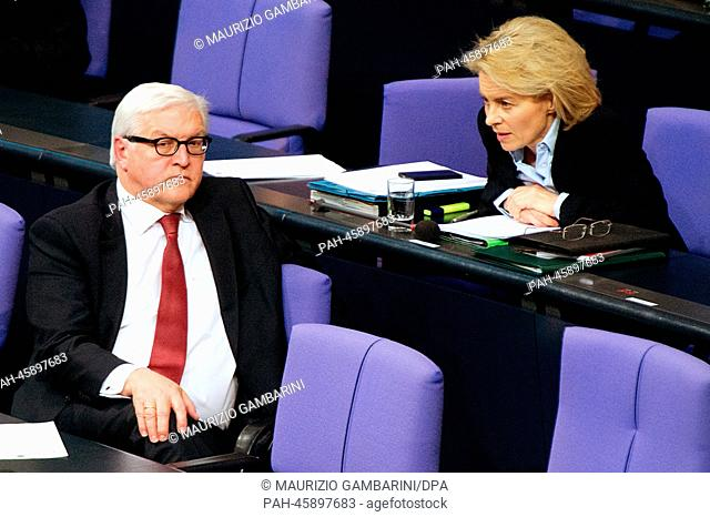 German Foreign Minister Frank-Walter Steinmeier (SPD) and German Minister of Defence Ursula von der Leyen talk to each other during a session at the German...