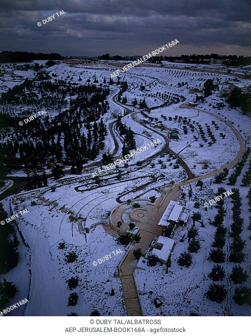 Aerial photograph of the Sherover Promenade in the new city of Jerusalem at winter