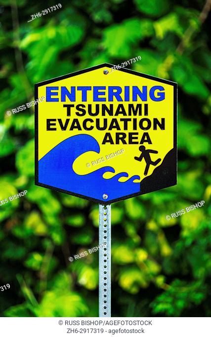 Tsunami evacuation area sign, Hamakua Coast, The Big Island, Hawaii USA