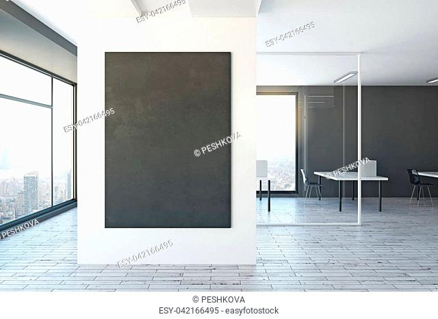 White office interior with empty poster on wall. Mock up, 3D Rendering