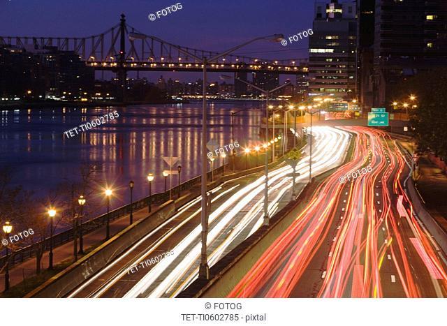 USA, New York state, New York city, vehicle lights