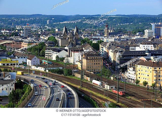 Germany, Koblenz, Rhine, Moselle, Maifeld, Eifel, Hunsrueck, Westerwald, Rhineland-Palatinate, city panorama, downtown, old city, highway, Karthaeuser Strasse