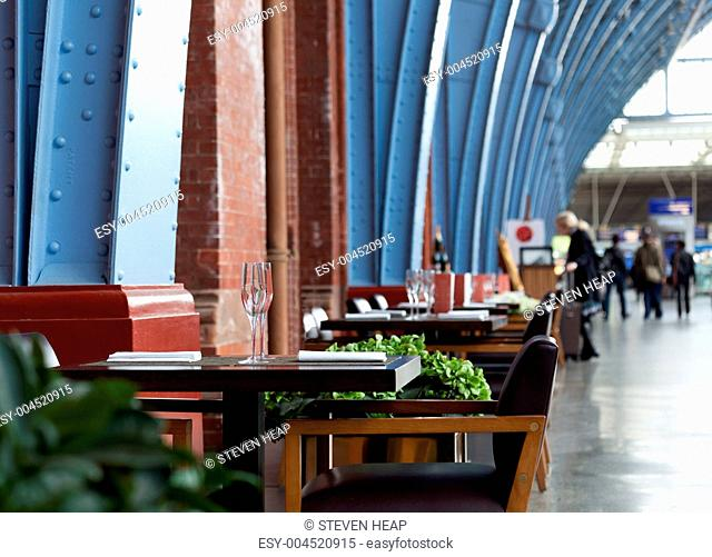 Restaurant tables at St Pancras
