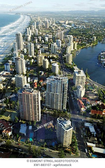 aerial view of Surfers Paradise from Q1 Tower, Gold Coast, Queensland, Australia